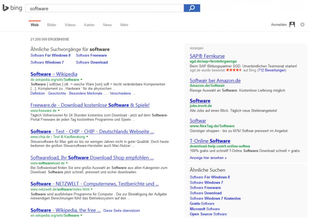 Bing Suchergebnis