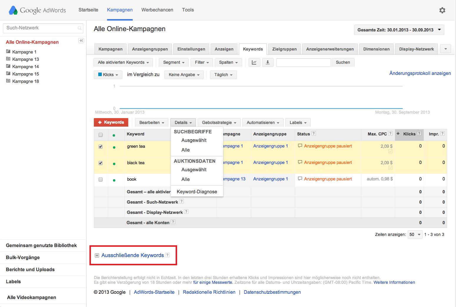 Google AdWords Fehler - Keywords nicht ausschließen