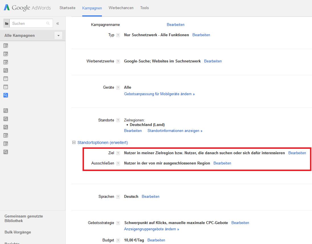 Google AdWords Fehler - Falsche Keyword - Recherche