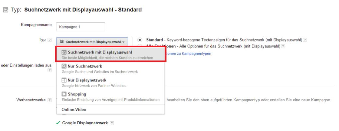 Google AdWords Fehler - Suchnetzwerk mit Displayauswahl