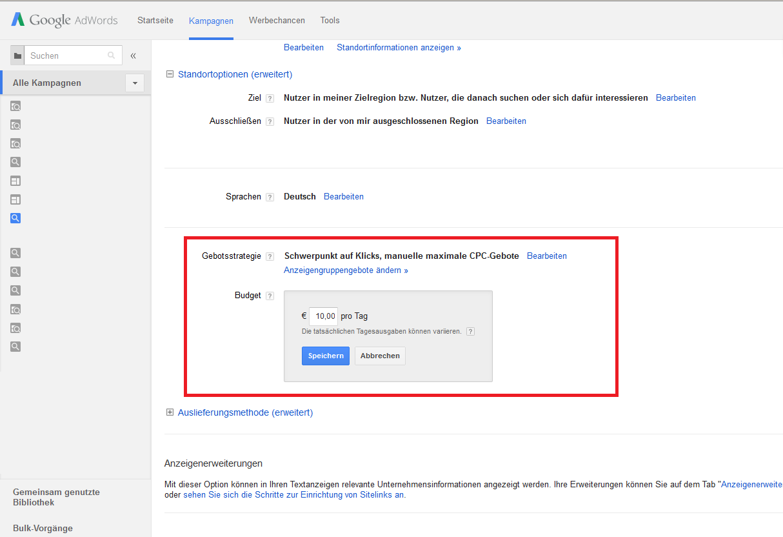 Google AdWords Fehler - Kein Tagesbudget eingestellt