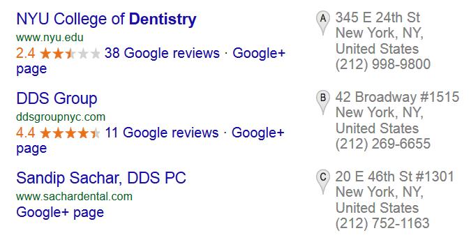Google Ranking. Suchanzeige Google bei regionalen Suchen.