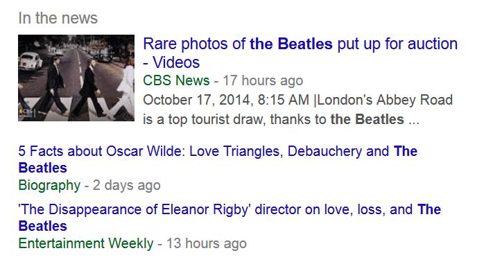 Google Ranking. Suchanzeige Google bei News.