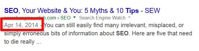 Google Ranking. Anzeige des Datums und der Aktualität des Contents im Suchergebnis.