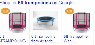 Google Ranking. Suchanzeige der Ergebnisse aus dem Google Shopping.