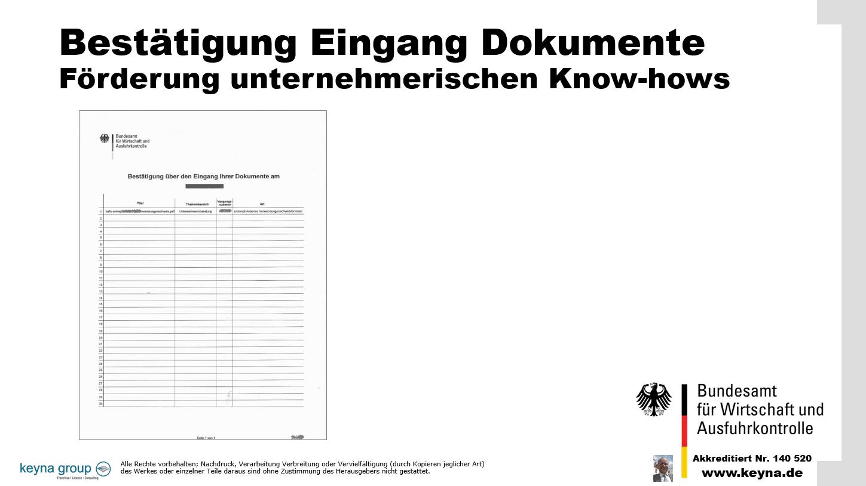 Bestätigung Eingang Dokumente Förderung unternehmerischen Know-hows