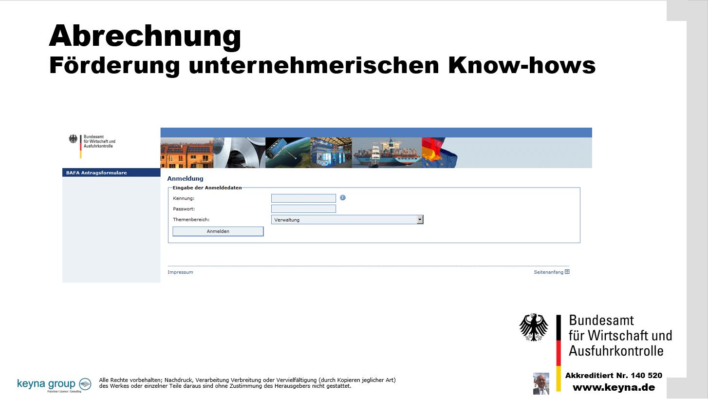 Abrechnung Förderung unternehmerischen Know-hows