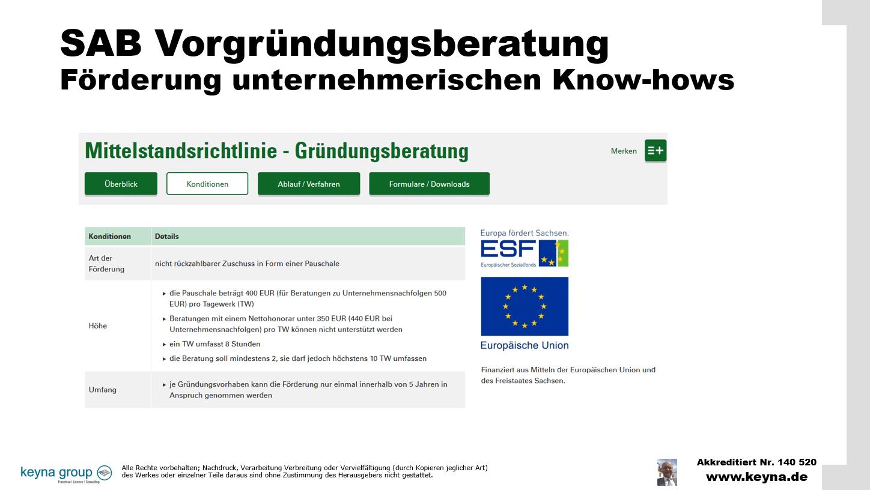 SAB Vorgründungsberatung Förderung unternehmerischen Know-hows