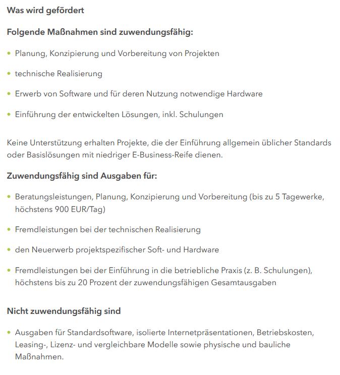 eBusiness Sachsen, Übersicht Förderprogramm Digitalisierung – eBusiness Sachsen