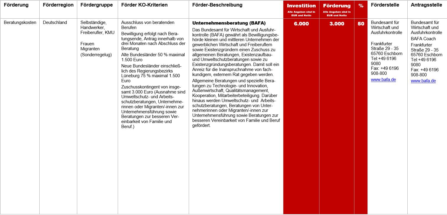 BAFA Unternehmensberatung, Fördermittel – BAFA Unternehmensberatung
