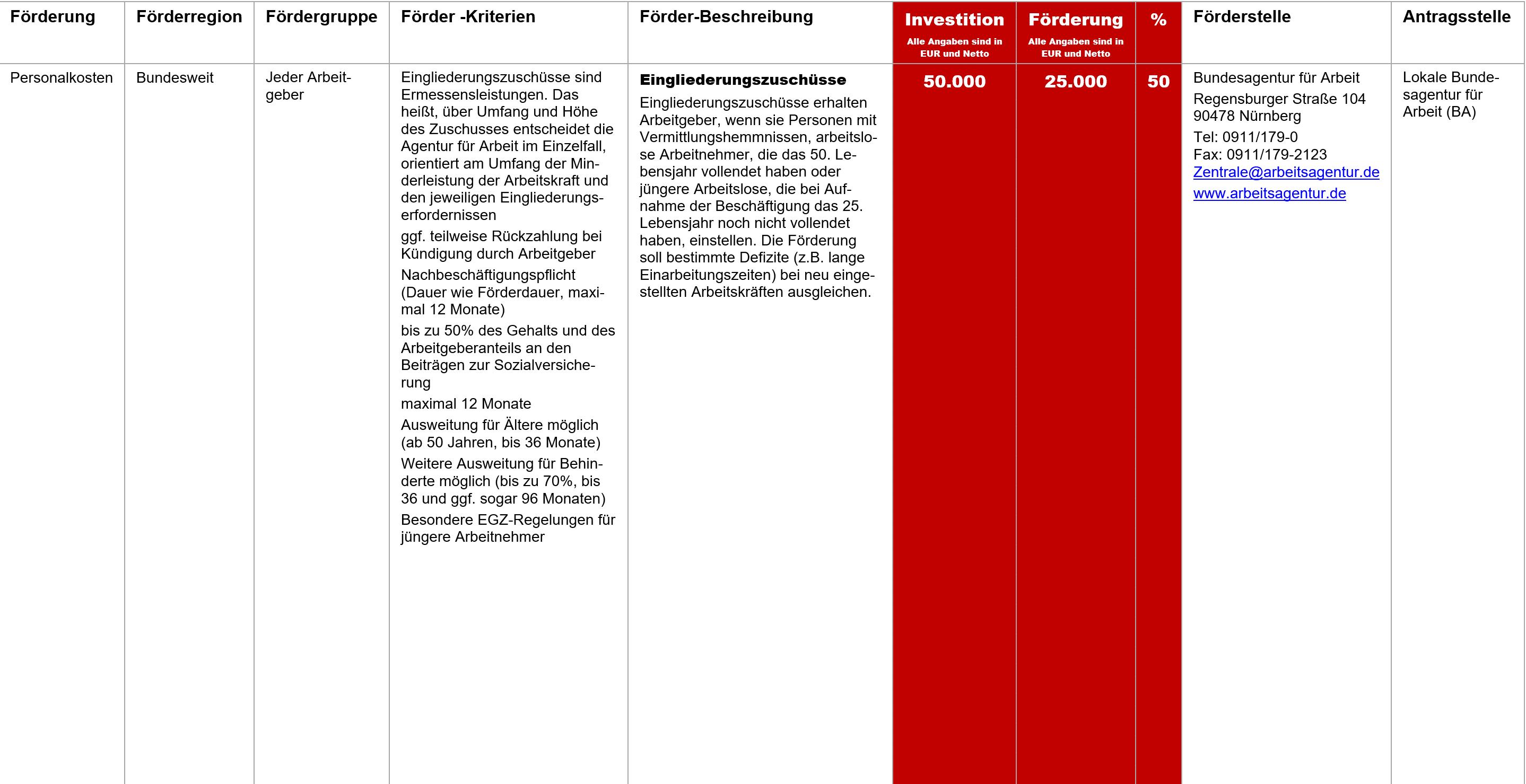 Eingliederungszuschuss, Fördermittel – Eingliederungszuschuss
