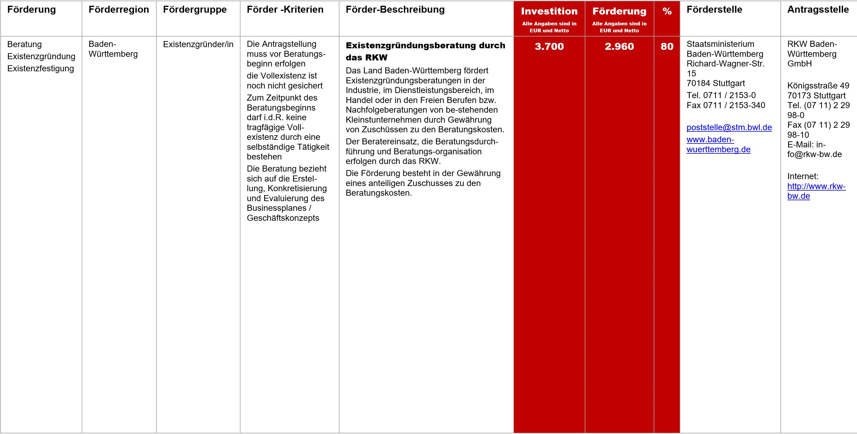 Existenzgründungsberatung durch das RKW, Fördermittel – Existenzgründungsberatung durch das RKW