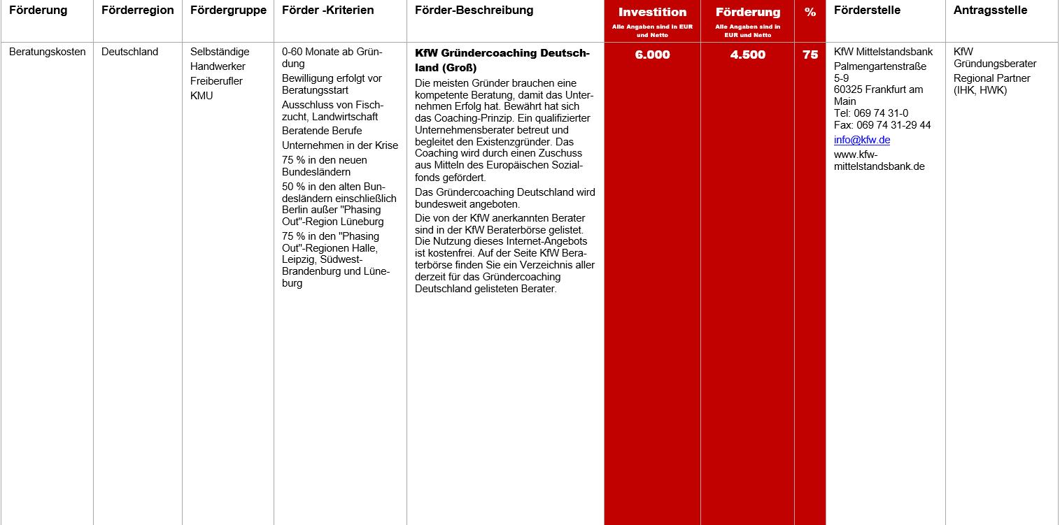 KfW Gründercoaching Deutschland Groß, Fördermittel – KfW Gründercoaching Deutschland (Groß)